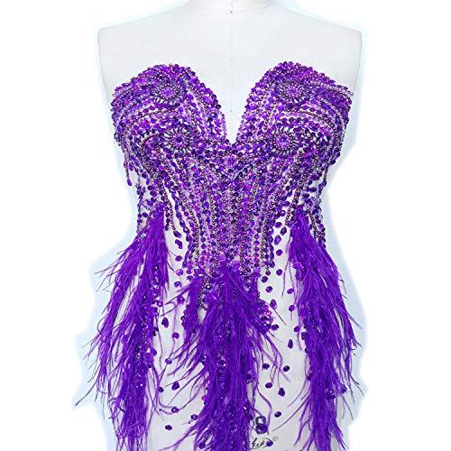Luxus Strass Mieder Applikation Perlenfeder Bestickung Patch für Kostüm Ballkleid Abendkleid violett - Ballkleid Mit Perlen Mieder