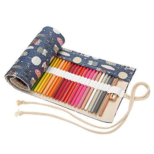 er Buntstifte Canvas Rollentasche Bleistifte Mäppchen Mehrzwecktasche für Reisen Schule Büro Kunst (Eule) ()