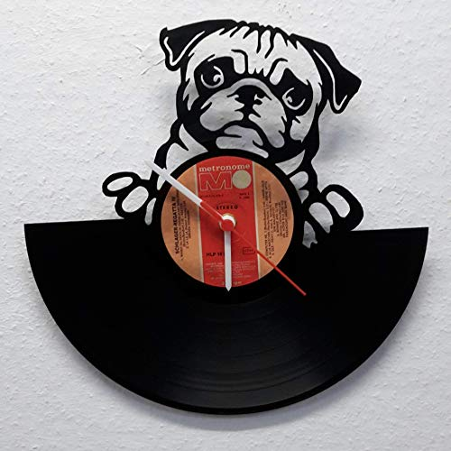 Wanduhr Uhr Skyline Bulldoge Hund Silhouette Chronometer aus original Vinyl Schallplatte Upcycling Design Uhr Wand-Deko Wand-Dekoration -