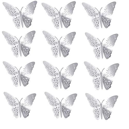 KINGWani Ausverkauf 3D 24 Karat Gold Schmetterling Hohl Metall 3D Wandaufkleber Schmetterling (12 Stück) Mutter und Frau Kaufen Sie jetzt