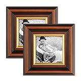 Photolini 2er Set Bilderrahmen 10x10 cm Antik Dunkelbraun mit Goldkante Massivholz mit Glasscheibe inkl. Zubehör