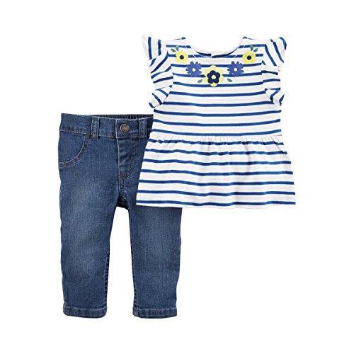 CARTER´S 2-tlg. Set Tunika T-Shirt Flügelarm und Jeans Ringel blau 74 (Carters Baby-tasche)
