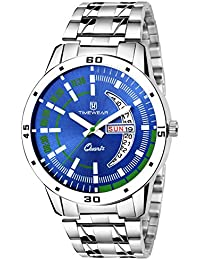 TIMEWEAR Day & Date Functioning Blue Dial Chain Watch for Boys & Men