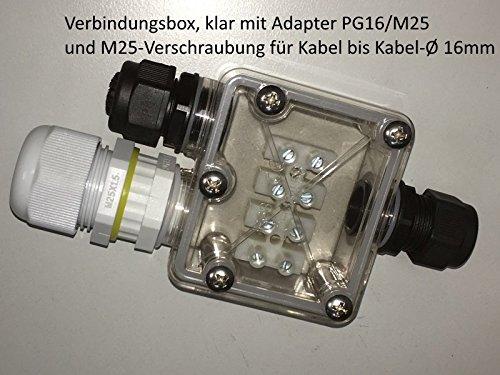 erweiterungskit PG16/M25per box trasparente, cavo collegamento di collegamento 3/5poli, incl. Guarnizioni-necessario per poter cavo con fino a 16mm di diametro anschliessen.