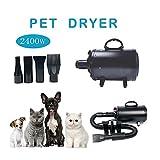 WILLIAM & KATE secador de peluquería para mascotas para perros y gatos con 4 boquillas 2400W 3.2HP temperatura ajustable para peluquería de mascotas secador de pelo