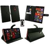 Emartbuy® Nokia Lumia 1520 Premium-Pu-Leder-Geldbörse Desktop-Ständer Case Hülle Tasche Schwarz Mit Kreditkartensteckplätze