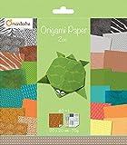 Avenue Mandarine 52504MD - Un paquet de 60 feuilles Origami 20x20 cm 70G (30 motifs x 2 feuilles) et une planche de stickers incluse, Zoo