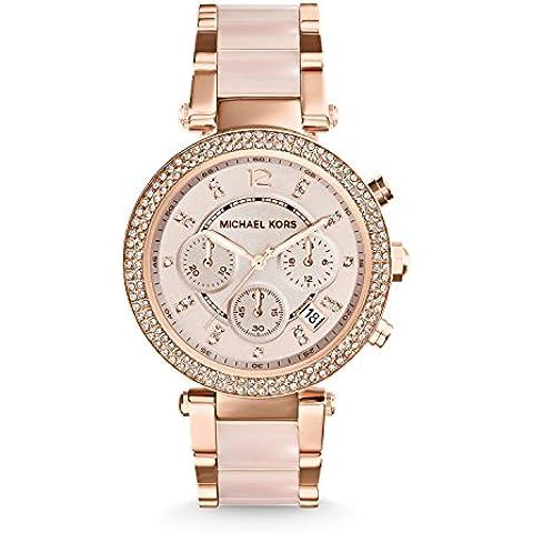 Michael Kors MK5896 - Reloj de cuarzo con correa de acero inoxidable para mujer, color rosa