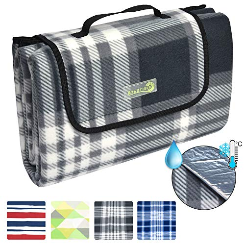 Beautissu Picknickdecke BellaKa Wasserdicht 200x200 XXL Outdoor, wärmeisoliert & weich Fleece Stranddecke Outdoordecke kariert Oeko-Tex Zertifikat -