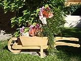 Holz-Schubkarre zum Bepflanzen, Blumentöpfe, Pflanzkübel, Pflanzkasten, Blumenkasten, Pflanzhilfe, Pflanzcontainer, Pflanztröge, Pflanzschale, Schubkarren 100 cm HSC-100-NATUR groß hell natur unbehandelt für GartenhBlumentopf, Holzhaus und Eingang Gartendeko mit Holzdach Dekoration Pflanzgefäß, Pflanztöpfe Pflanzkübel