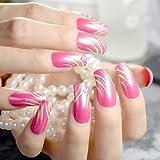 Echiq rosa rose false Nails Gold glitter quadrato testa del chiodo falso lungo Dimensioni con strass acrilico nail tips DIY Salon nail