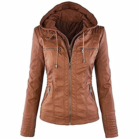 EMMA Women's Hooded Coat Fashionable Zipper Outerwear Faux Leather Jackets(BR,XL)