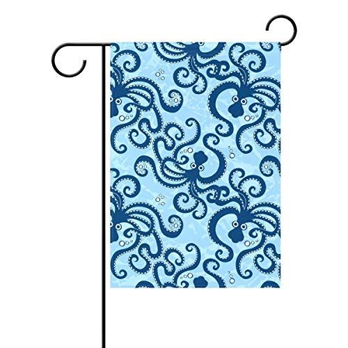 Dozili Flagge Blaues Meer Octopus Anima Home Dekoration Garten Flagge wetterfest & doppelseitig Hofflagge, Polyester, bunt, 12.5