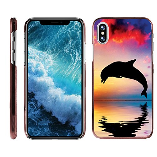 Kompatibel für Apple iPhone X Fall | Apple iPhone 10 Case [Slim Duo] Hard Shell Clip on Case Cover mit Rosa Kanten Sea Ocean Design by turtlearmor -, Dolphin Jump -