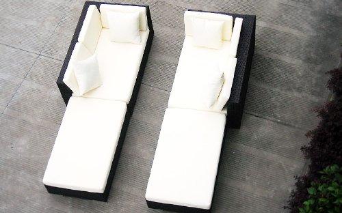 Baidani Gartenmöbel-Sets 10d00001.00002 Designer Rattan Lounge Paradise, 2 Sofas, Sitzauflage, Kissen, braun - 3
