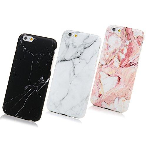 3 Unidades Funda Silicona iPhone 6/6s, Cascara Ultrafina Suave Cover Protectora Mármol , Anti-Rasguño y Resistente Huellas (Gris + Negro + Rosa)