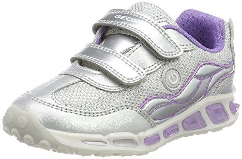 Geox j shuttle c, scarpe da ginnastica basse bambina, argento (silver/lilac), 31 eu