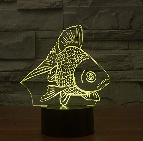 ZJFHL 3d Spiel Licht Fisch Night Light Baby 3D Mood Lamp RGB Changeable Lighting Base Acrylic Crafts for Birthday Holiday Christmas Party Decoration -