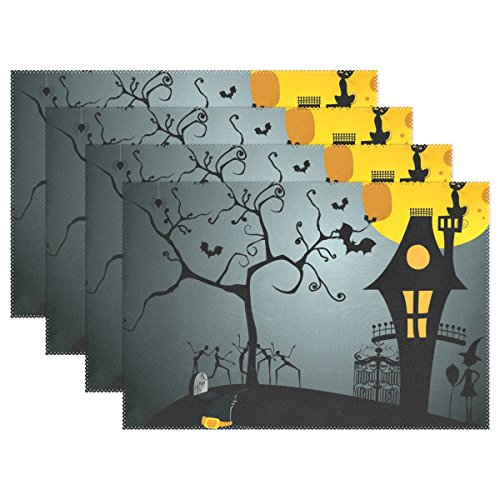 Bennigiry Moonlight Pumpkin Witch Halloween Spooky Washable Chinese Painting Peacock Table Mats Placemats for Dining Table Splice Insulation - Moonlight Halloween