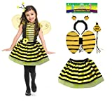 Kids Angel Fairy Feather Wings Halo Fancy Dress Costume Cat Leopard Outfit Party by Lizzy® (Bumble Bee Tutu Costume)