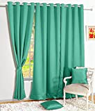 Story@Home Room Darkening Blackout Plain Faux Silk Premium Solid 1 Piece Window Curtain, 5ft, Teal