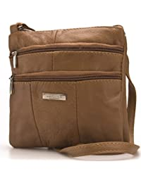 Lorenz Ladies Small Genuine Soft Leather Cross Body / Shoulder Bag (1) # 1941 - Tan