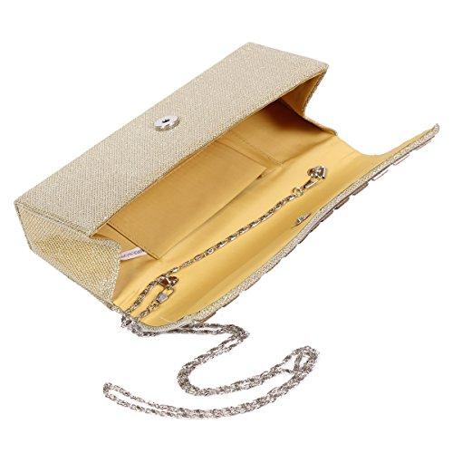 Molto luminoso Damara la sera borsa da donna in acciaio con strass, Oro (oro), L Oro (oro)