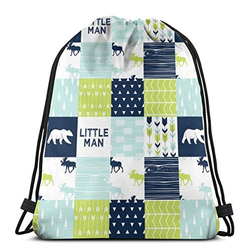 beautiful& Bear Creek Patchwork Quilt Top Little Man with Navy Bear_9499 3D Print Drawstring Backpack Rucksack Shoulder Bags Gym Bag for Adult 16.9