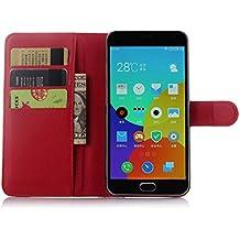 Funda Libro para Meizu M2 Note (5.5pulgada), Ycloud Suave PU Leather Cuero Con Flip Cover, Cierre Magnético, Función de Soporte,Billetera Case con Tapa para Tarjetas + 1x Lápiz óptico (Rojo)