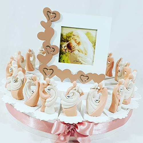 Sindy bomboniere statuine sposi cuore argentato romantici originali, idee per nozze tema amore (torta 20 fette + 20 sposi + centrale portafoto + confetti)