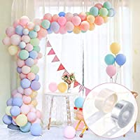 FRETOD Pastel Party Balloons 100Pcs Balloon Garland Kit with15M Balloon Chain, 100 Glue Dots Balloon Arch Garland for Wedding, Birthday, Gratulation Party