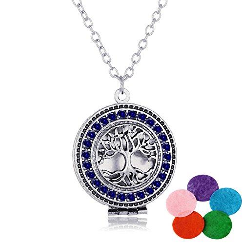 TONVER ätherisches Öl Diffusor Halskette, vergoldet Aromatherapie Diffusor Medaillon Anhänger Halskette Schmuck-Set für Frauen, 5Farbe Refill Pads, Legierung, Tree - Dark Blue Crystal, 2.7*2.7*0.2cm -