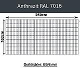 Gittermatte Doppelstabmatte Anthrazitgrau RAL 7016/Höhen 83cm - 203cm x Breite 250cm/Drahtstärke 6/5/6mm/Maschenweite 50 x 200mm (Anthrazit, 103cm x 250 cm)