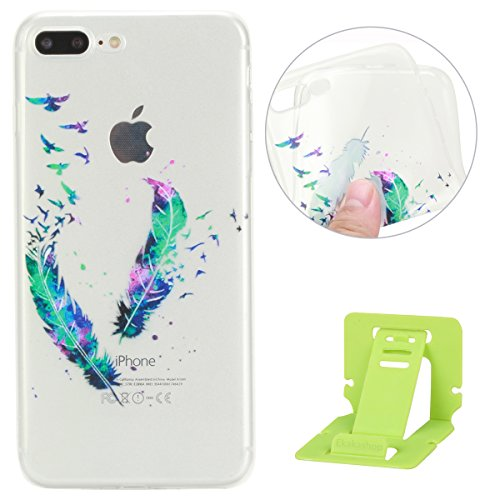 iPhone 7 Plus Coque de Protection en TPU Silicone,iPhone 7 Plus Transparent Housse,Ekakashop Jolie Fleurs Flamingo Design Ultra Mince Crystal Clair Souple Gel Housse Coque Protecteur Back Cover Defend Panache Double