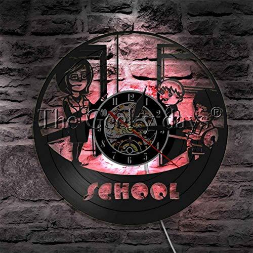 Lehrer und Schüler zeitgenössische Wanduhr Lehrer Zeit Retro Vinyl LP Uhr Kindergartendekoration ()