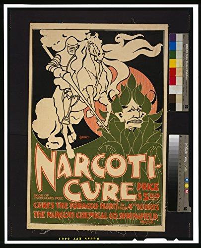 narcoti-cure-Cura del Tabacco abitudine pubblicità Poster Stampa Digitale, Carta, 18.93 x 23.39 Inches