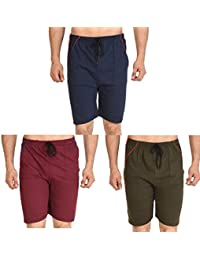 Dia A Dia Combo of 3 Shorts for Men 100% Cotton Casual Daily Wear Boys Nicker (Blue, Green, Black) Free Size, Adjustable Size for 26, 28, 30, 32, 34, 36, 38, 40