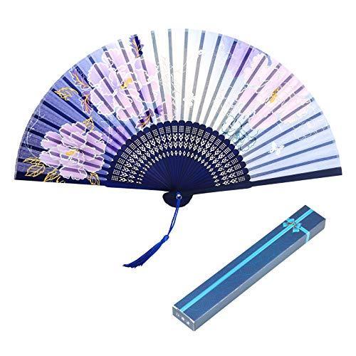 KAKOO Abanico Flor 1pcs Abanico Chino Madera Abanico de Mano Ventilador japonés...