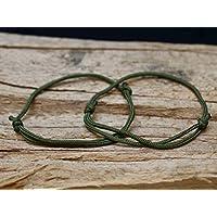2x Surferarmband - Partnerarmbänder - olivgrün / oliv