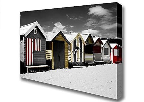 Beach Beach Huts Line Canvas Art Prints - Medium 20 x 32 inches