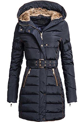 Winterjacke | Wintermantel | Stepp-Jacke für Damen Modell D-012 - eleganter Stepp-Mantel im schlanken Parka-Stil mit gefütterter Kapuze auch für den Übergang Herbst / Winter in Navy, Gr. L