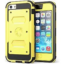 i-Blason Armorbox, Funda con protector de pantalla integrado y almohadillas antiimpactos para Apple iPhone 5C, negro/amarillo