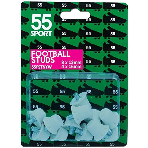 55 Sport World Cup Ersatz Fußball Schuh Stollen, Weiß Nylon, 12x13 mm + 4x16 mm (Schuhe Weiße Nylon)