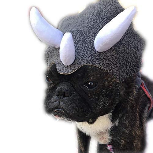 Isuper Haustier Kostüm Hut Triceratops Hut Hund Dinosaurier- Kopfbedeckung Hut mit Einstellbarer Schnalle Kostüm Party Zubehör