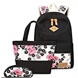 Zaino per Bambini Retro Flower Printing Boho Style 3 Pezzi Teens Girls Backpack Set 3 in 1 Borsa per Notebook Studenti Borsa a Tracolla Zaino Casual School Bookbag Canvas SchoolBags per Viaggi Colore
