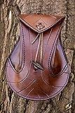 Sacoche pour ceinture en cuir tanné marron, médiéval, elfique, fantaisie