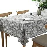 Meiosuns Grey Retro Tischdecke Rechteckige Tischdecke Baumwolle Leinen Tischdecke Geeignet für Home Küche Dekoration, Verschiedene Größen (120x160cm)