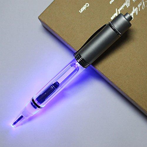 Preisvergleich Produktbild 2PCS PACK Kugelschreiber Kugelschreiber Metall 2 in 1 LED leuchten Stift mit Velvet Taschen in einem Geschenk-Box-writting und lesen in der Dunkelheit Nacht (Blaues Licht)