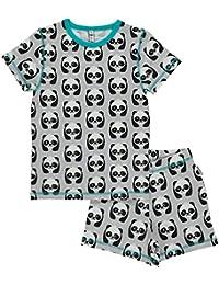MAXOMORRA Mädchen Pyjama Kurzarm Grau Panda Bär Gots Bio Schlafanzug
