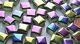 50 St. Glas Mosaiksteine schimmernd in Spektralfarben 1x1 cm ca.